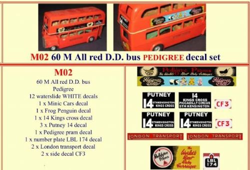 "M02 Tri-ang ( Triang ) Minic 60M All Red Double Decker bus "" PEDIGREE "" decal set"